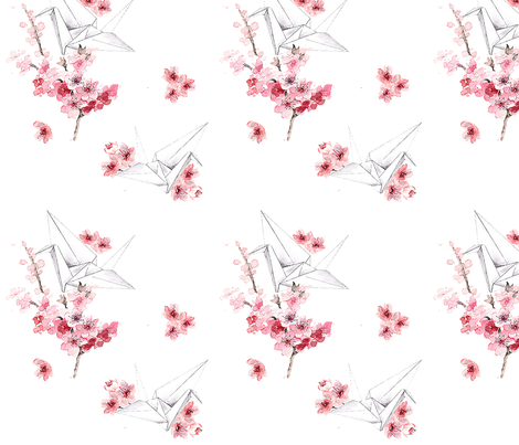 CranesandCherryBlooms fabric by gjertina on Spoonflower - custom fabric