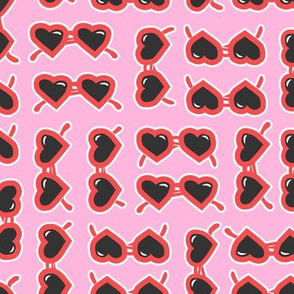 heart shaped glasses - red on pink