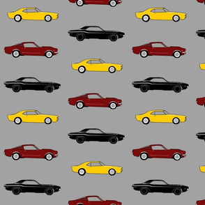 Classic Muscle Cars - yellow, black and burgandy
