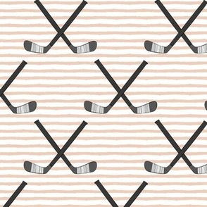 hockey sticks on blush stripes