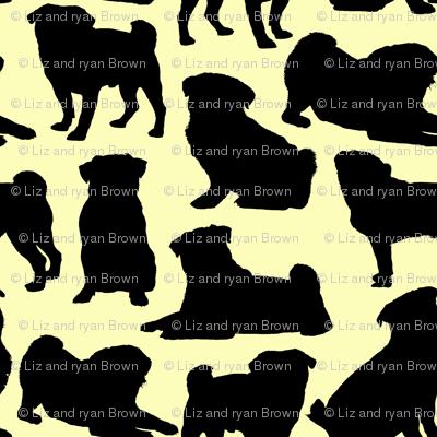 Pug Silhouettes // Yellow
