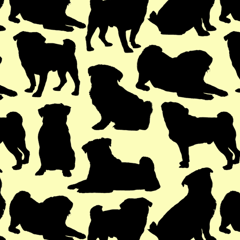 Pug Silhouettes // Yellow fabric by thinlinetextiles on Spoonflower - custom fabric