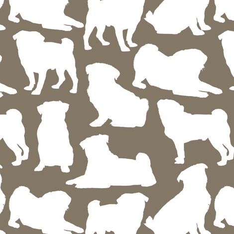 Pug Silhouettes // Taupe fabric by thinlinetextiles on Spoonflower - custom fabric