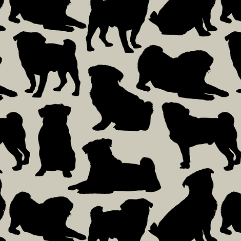 Pug Silhouettes // Light Taupe fabric by thinlinetextiles on Spoonflower - custom fabric