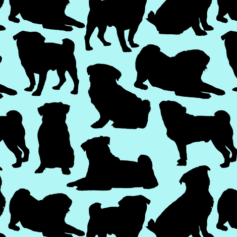 Pug Silhouettes // Cyan fabric by thinlinetextiles on Spoonflower - custom fabric