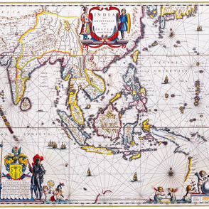 """Antique Map of India & The Orient (21""""W)"""