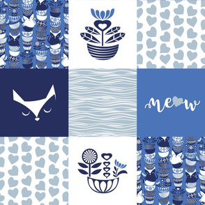 Swedish folk cats wholecloth quilt top I //  meow on indigo blue background