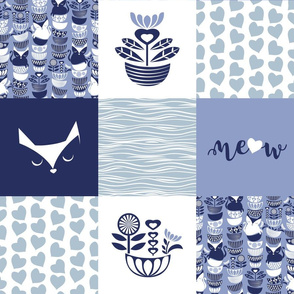 Swedish folk cats wholecloth quilt top IV //  meow on pale blue background