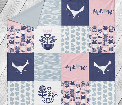 Swedish folk cats wholecloth quilt top VII //  meow on pastel pink background