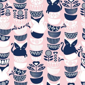 Swedish folk cats // pastel pink background navy & white flowers bowls & cute kitties