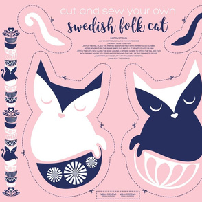 Cut and sew your own swedish folk cat // pastel pink background