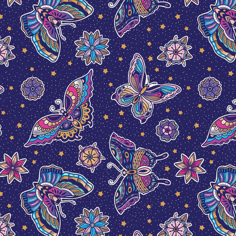 Butterflies tattoo flash  fabric by penguinhouse on Spoonflower - custom fabric