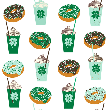 shamrock shake mint iced drink coffee milkshake st patricks day and donuts - larger fabric by charlottewinter on Spoonflower - custom fabric