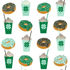 shamrock shake mint iced drink coffee milkshake st patricks day and donuts - larger