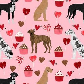 great dane mixed coat colors valentines day cupcakes hearts love dog fabric pink