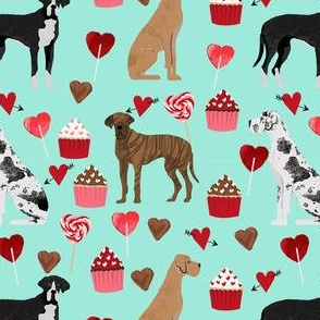 great dane mixed coat colors valentines day cupcakes hearts love dog fabric mint
