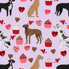 great dane mixed coat colors valentines day cupcakes hearts love dog fabric purple