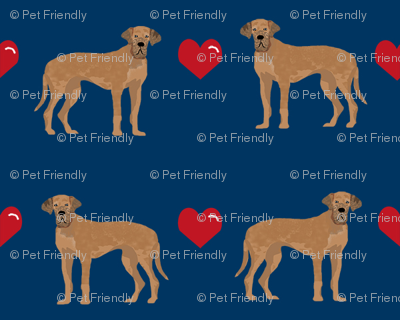 great dane tan love hearts dog fabric navy
