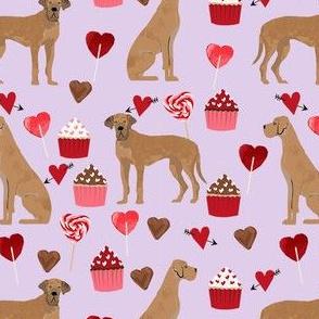 great dane tan valentines hearts love cupcakes dog breed fabric purple