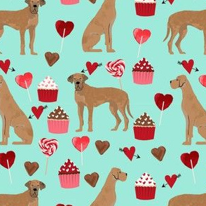 great dane tan valentines hearts love cupcakes dog breed fabric mint