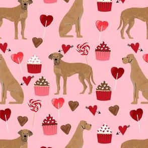 great dane tan valentines hearts love cupcakes dog breed fabric pink
