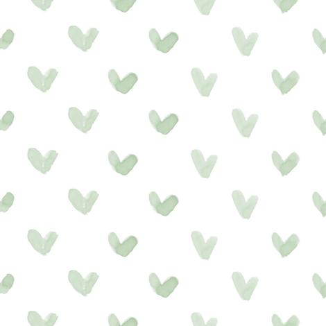 Love Hearts // Sage fabric by hipkiddesigns on Spoonflower - custom fabric