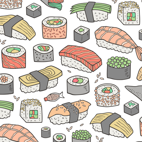 Sushi on White fabric by caja_design on Spoonflower - custom fabric