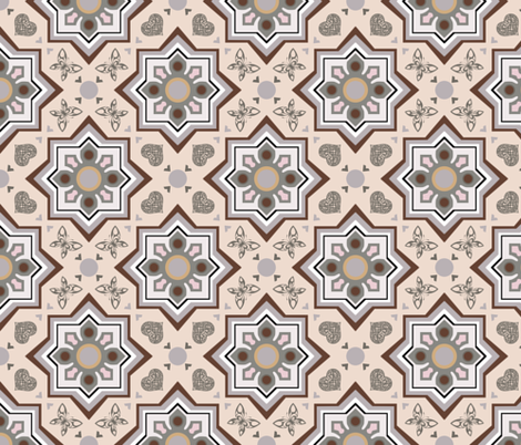 spanish tiles beige and brown fabric by colorofmagic on Spoonflower - custom fabric