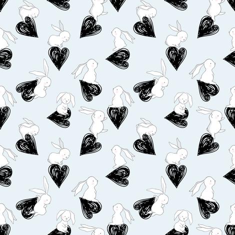 "4"" BUNNY HEARTS BLUE fabric by shopcabin on Spoonflower - custom fabric"