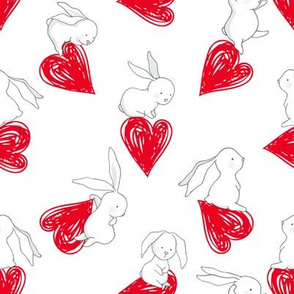 "8"" BUNNY LOVE  RED HEARTS"