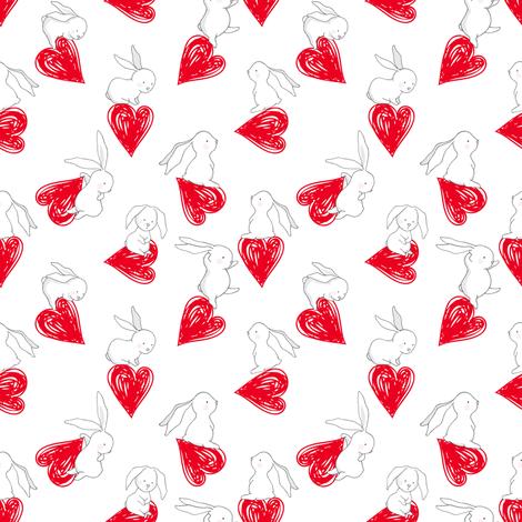 "4"" BUNNY LOVE  RED HEARTS fabric by shopcabin on Spoonflower - custom fabric"