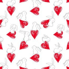 "4"" BUNNY LOVE  RED HEARTS"