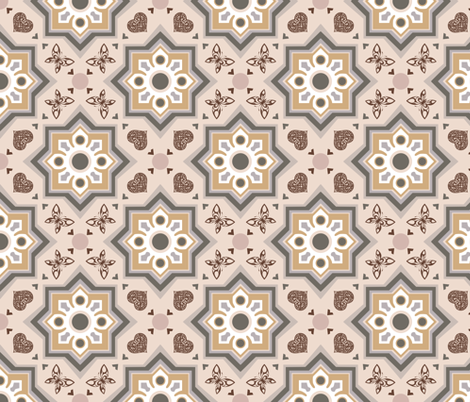 spanish tiles beige and rosé  fabric by colorofmagic on Spoonflower - custom fabric