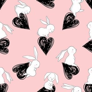 "8"" BUNNY LOVE BLACK HEARTS / PINK"