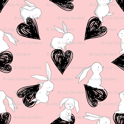 "4"" BUNNY LOVE BLACK HEARTS / PINK"