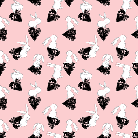 "4"" BUNNY LOVE BLACK HEARTS / PINK fabric by shopcabin on Spoonflower - custom fabric"