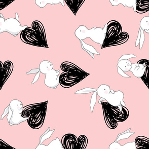 "21"" BUNNY LOVE BLACK HEARTS / PINK / 90 degrees"