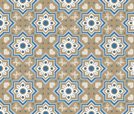 spanish tiles brown and blue fabric by colorofmagic on Spoonflower - custom fabric