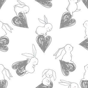 "8"" BUNNY LOVE GREY HEARTS"