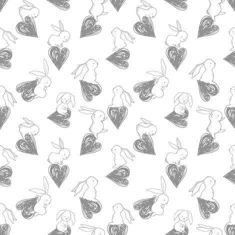 "4"" BUNNY LOVE GREY HEARTS fabric by shopcabin on Spoonflower - custom fabric"