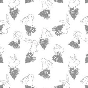 "4"" BUNNY LOVE GREY HEARTS"