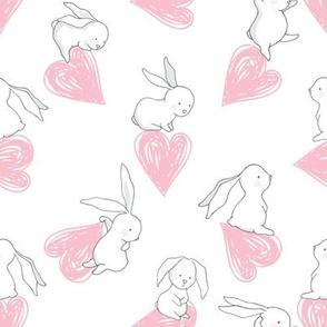 "8"" BUNNY LOVE PINK HEARTS"