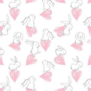 "4"" BUNNY LOVE PINK HEARTS"