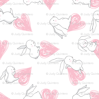 """21"""" BUNNY LOVE PINK HEARTS / 90 degrees"""