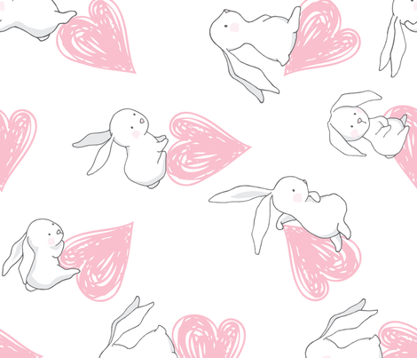 """21"""" BUNNY LOVE PINK HEARTS / 90 degrees fabric by shopcabin on Spoonflower - custom fabric"""