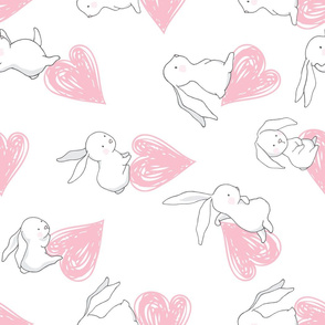 "21"" BUNNY LOVE PINK HEARTS / 90 degrees"