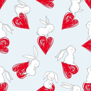 "8"" BUNNY LOVE RED HEARTS / BLUE"