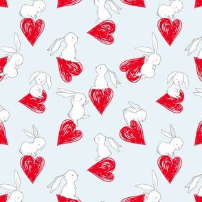 "4"" BUNNY LOVE RED HEARTS / BLUE"
