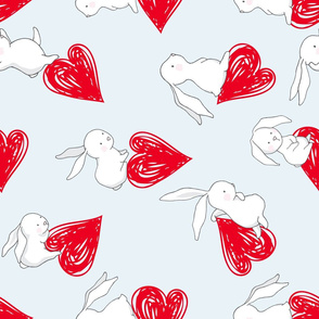"21"" BUNNY LOVE RED HEARTS / BLUE copy"