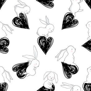 "8"" BUNNY LOVE BLACK HEARTS"
